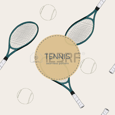 450x450 Seamless Pattern With Tennis, Rackets, Ball. Hand Drawn, Drawing