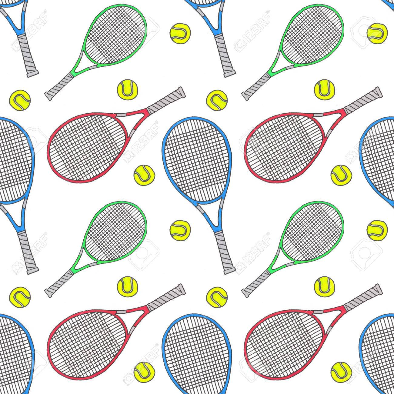 1300x1300 Tennis Racquets And Balls. Seamless Watercolor Pattern With Soprt