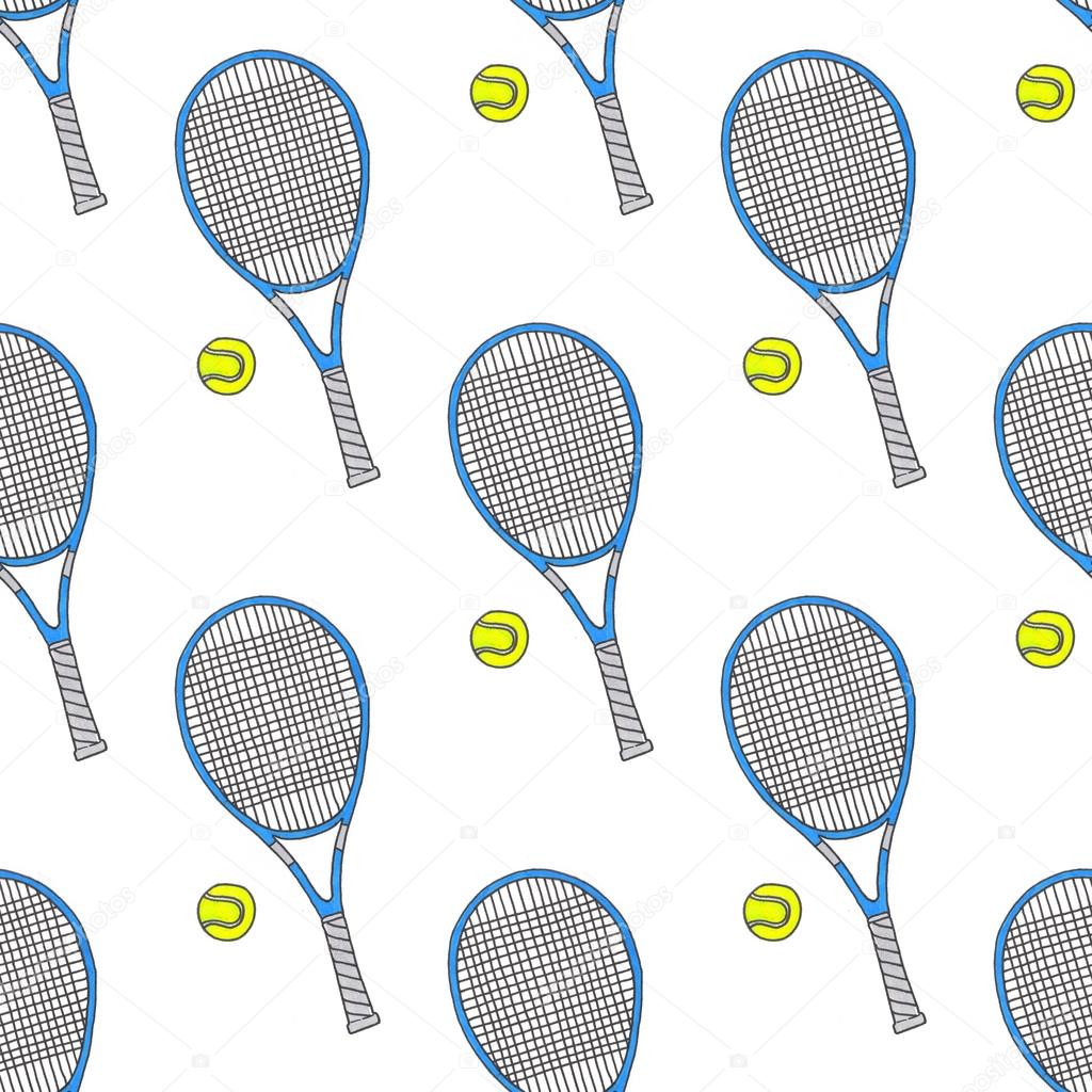1024x1024 Tennis Racquets And Balls. Seamless Watercolor Pattern With Sport
