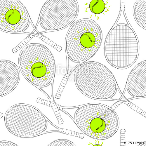 500x500 Illustration Of Seamless Pattern With Tennis, Rackets, Ball. Hand