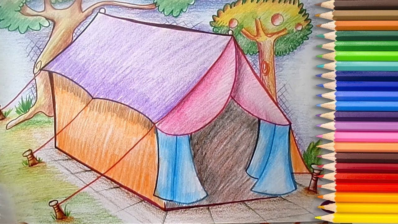 1280x720 How To Draw A Tent House With Pencil Shading For Beginners Learn