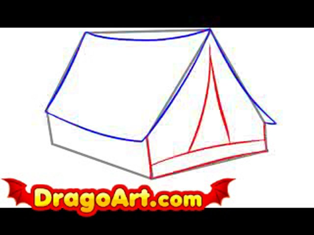 640x480 How To Draw A Tent, Step By Step