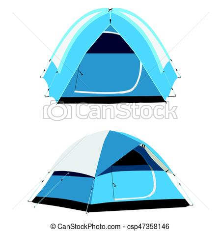 450x470 Camping Tent Vector. Vector Set Of Two Blue Camping Tents Eps