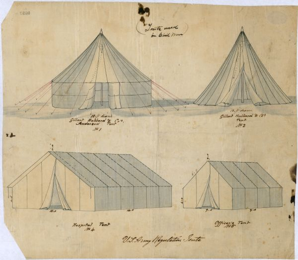 600x523 United States Army Regulation Tents Drawing Wisconsin