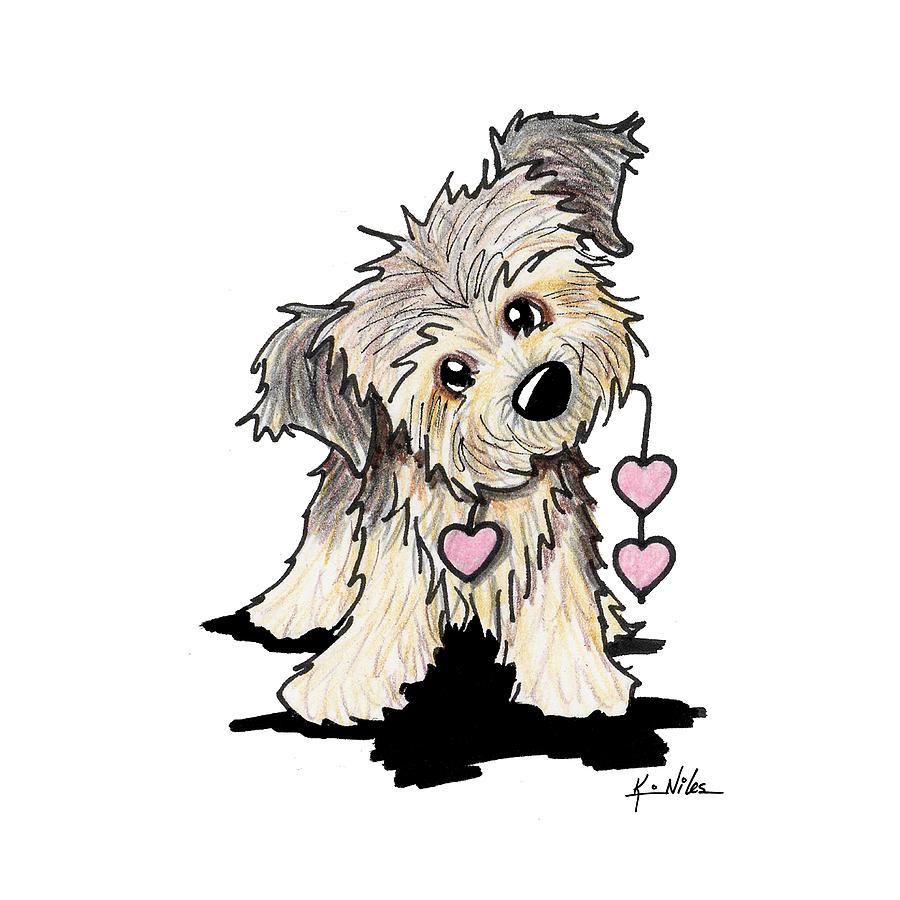 900x900 Border Terrier Heart Strings Drawing By Kim Niles