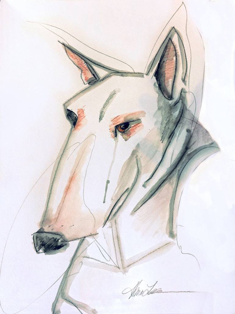 770x1027 Saatchi Art Essential Line Bull Terrier Drawing By Alma Lee