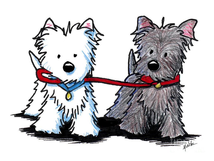 900x675 Terrier Walking Buddies Drawing By Kim Niles