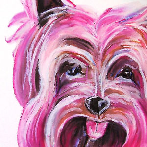 300x300 Yorkie A La Pink Dog Drawing Yorkshire Terrier ~ Surrealism Art