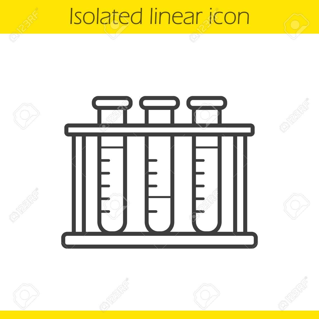 1300x1300 Test Tubes Rack Linear Icon. Thin Line Illustration. Contour