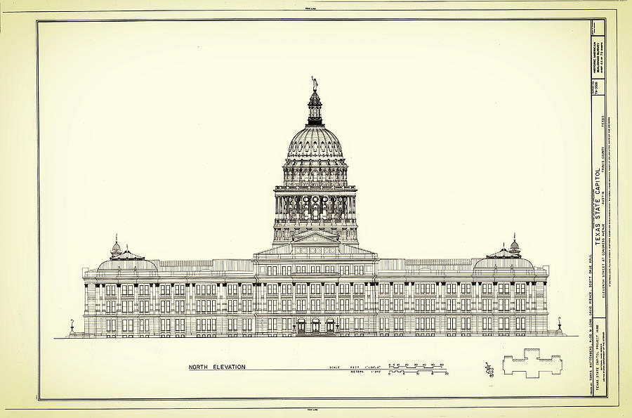 900x595 Texas State Capitol Architectural Design Drawing By Mountain Dreams