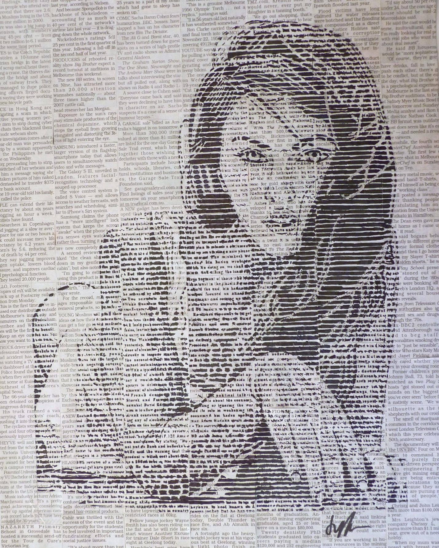 1428x1779 Megan Fox Drawing I Did On Newspaper, Colouring Just The Lines