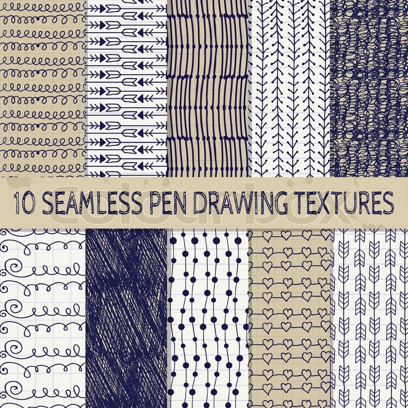 800x800 Set Of Ten Abstract Pen Drawing Seamless Textures With Transparent