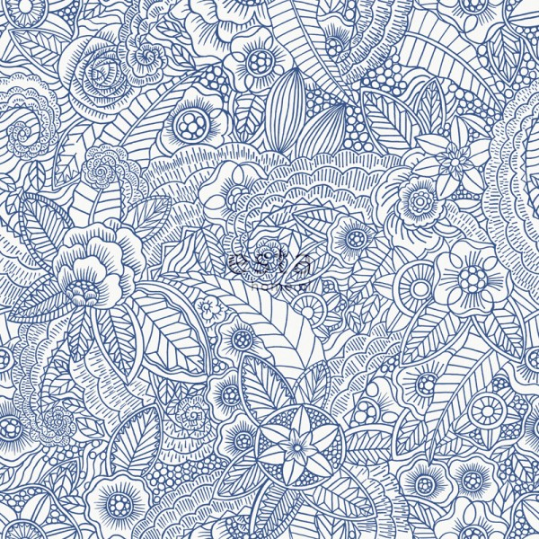 600x600 Chalk Printed Eco Texture Non Woven Wallpaper Flower Pen Drawing