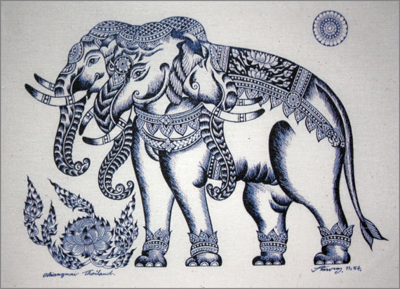 570x412 Thai Traditional Art Of Elephant By Printing On Natural Colors