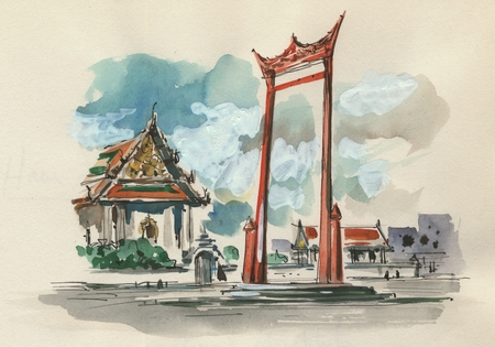 450x315 Drawing And Watercolor Of A Pagoda In Thailand During The Naga