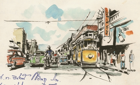 450x275 Drawing And Watercolor Of A Street Scene In Bangkok In Thailand