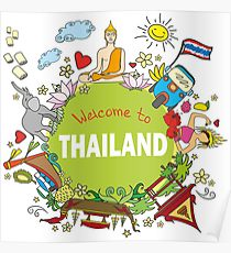 210x230 Thailand Map Drawing Posters Redbubble