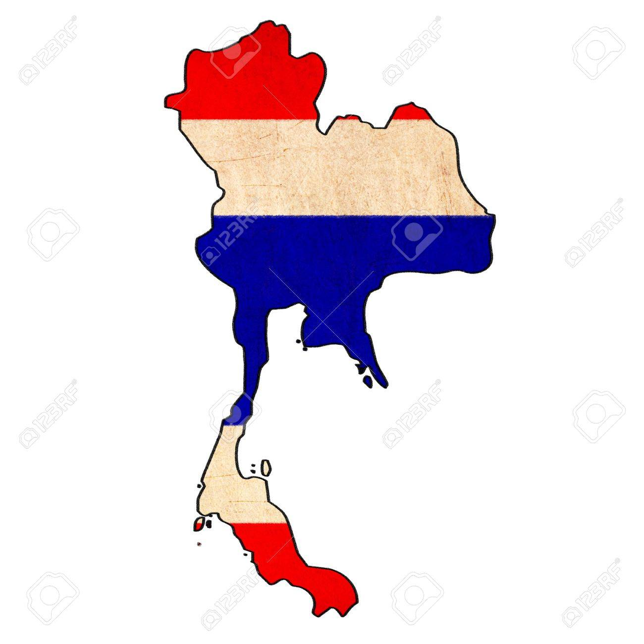 1300x1300 Thailand Map On Thailand Flag Drawing ,grunge And Retro Flag
