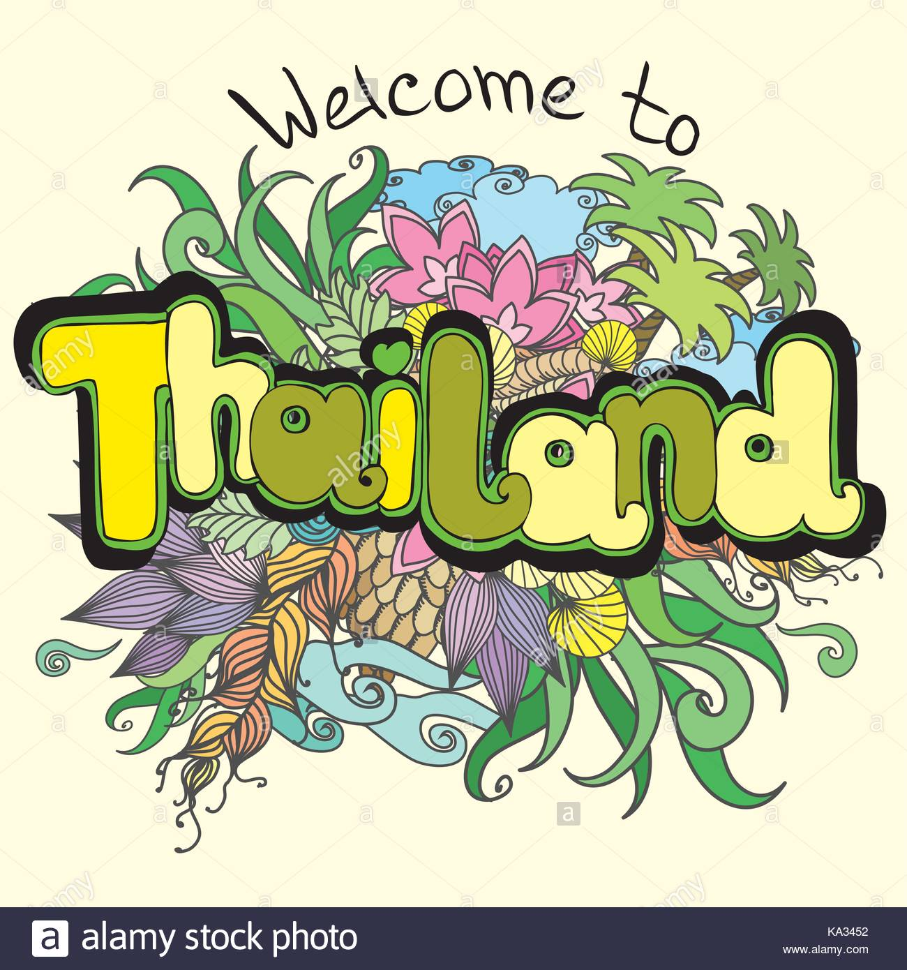 1300x1390 Welcome To Thailand Background, Hand Drawing, Vector Illustration