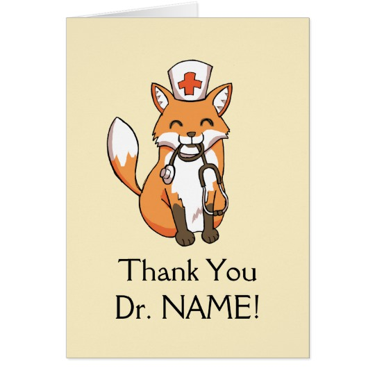540x540 Cute Fox Drawing Thank You Card Doctor Template