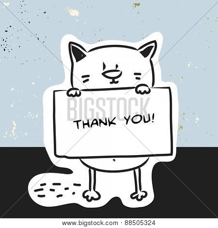 450x470 Cute Cat Holding A Placard. Thank You Card, Cartoon Doodle Style