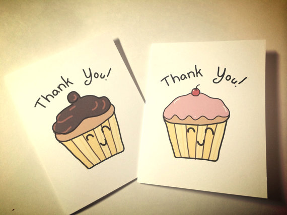 570x428 Set Of Two Happy Cupcake Drawing Doodle Thank You Cards, Made