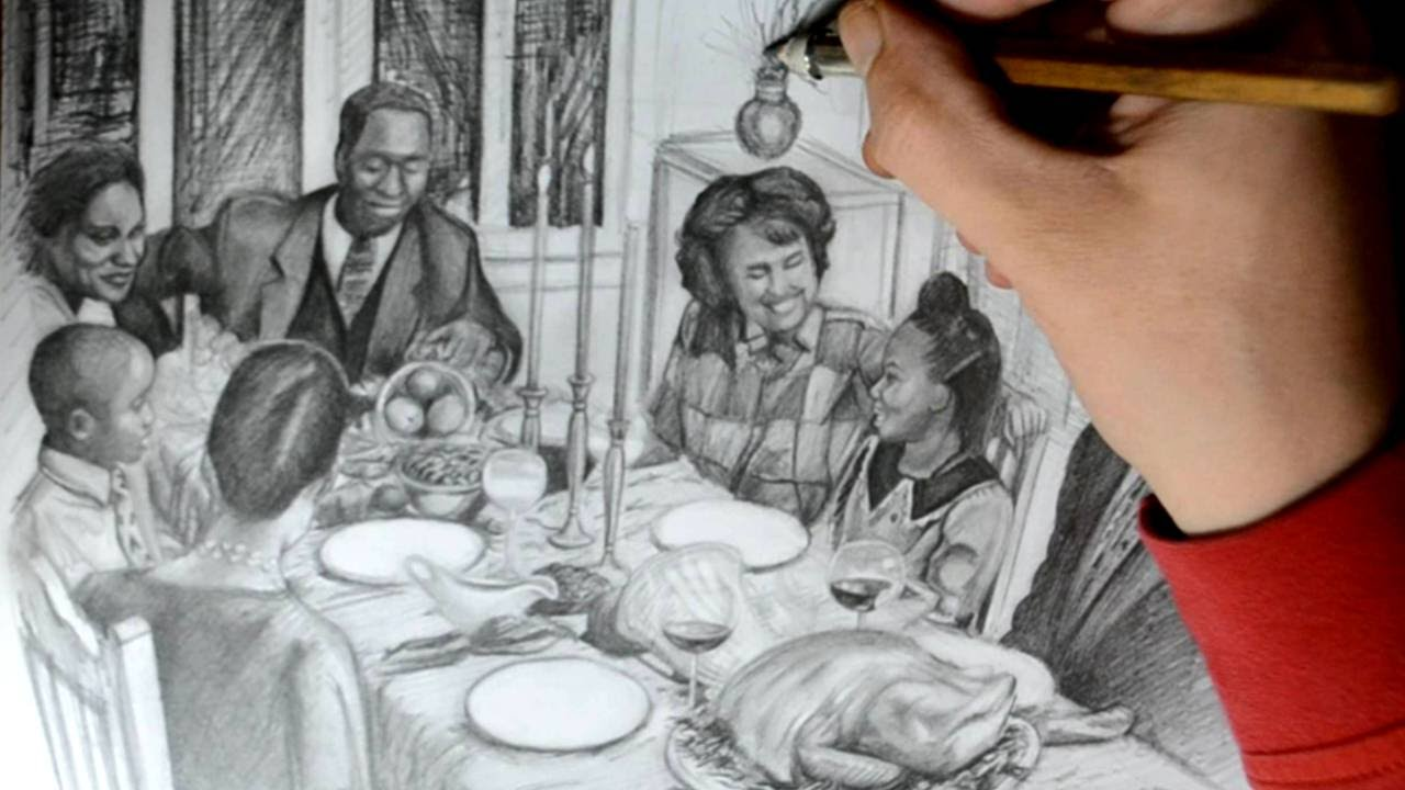 1280x720 Drawing A Family Eating Thanksgiving Dinner