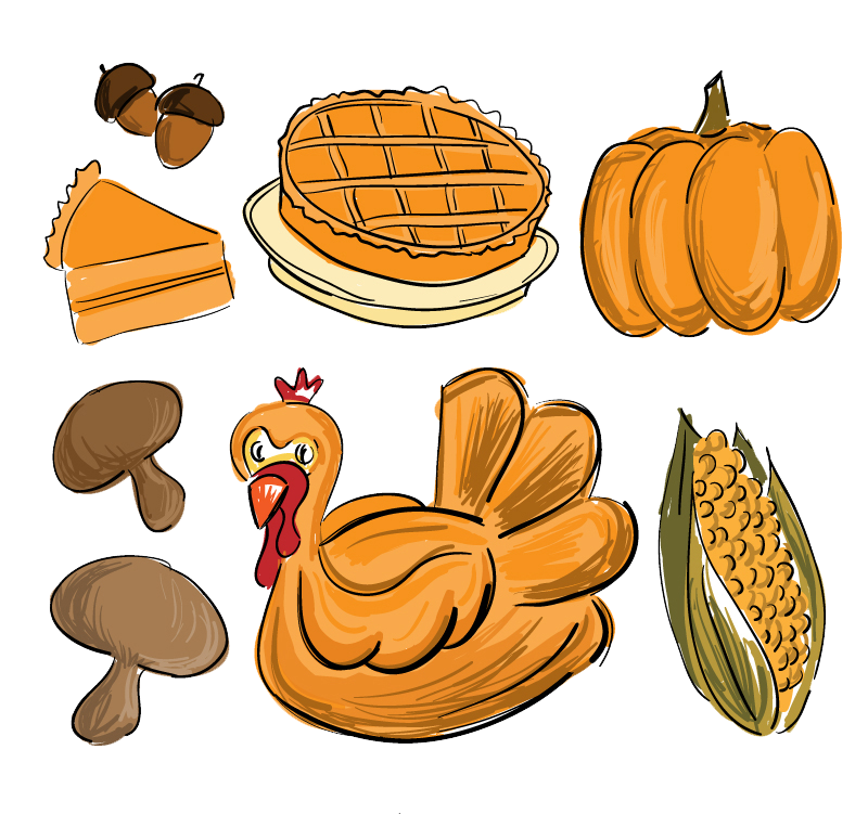 800x751 Thanksgiving Dinner Drawing Food