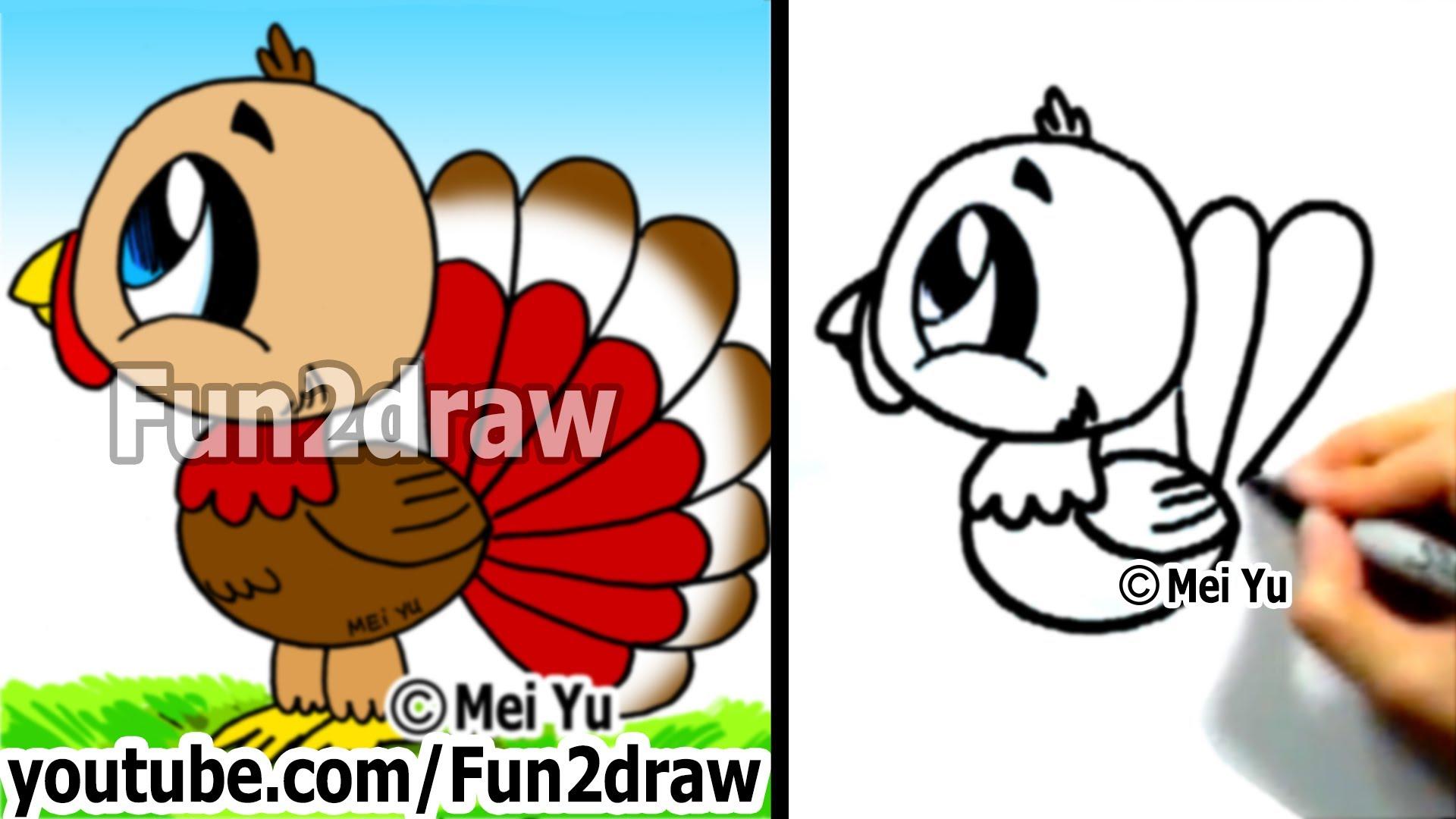 1920x1080 How To Draw A Cartoon Turkey