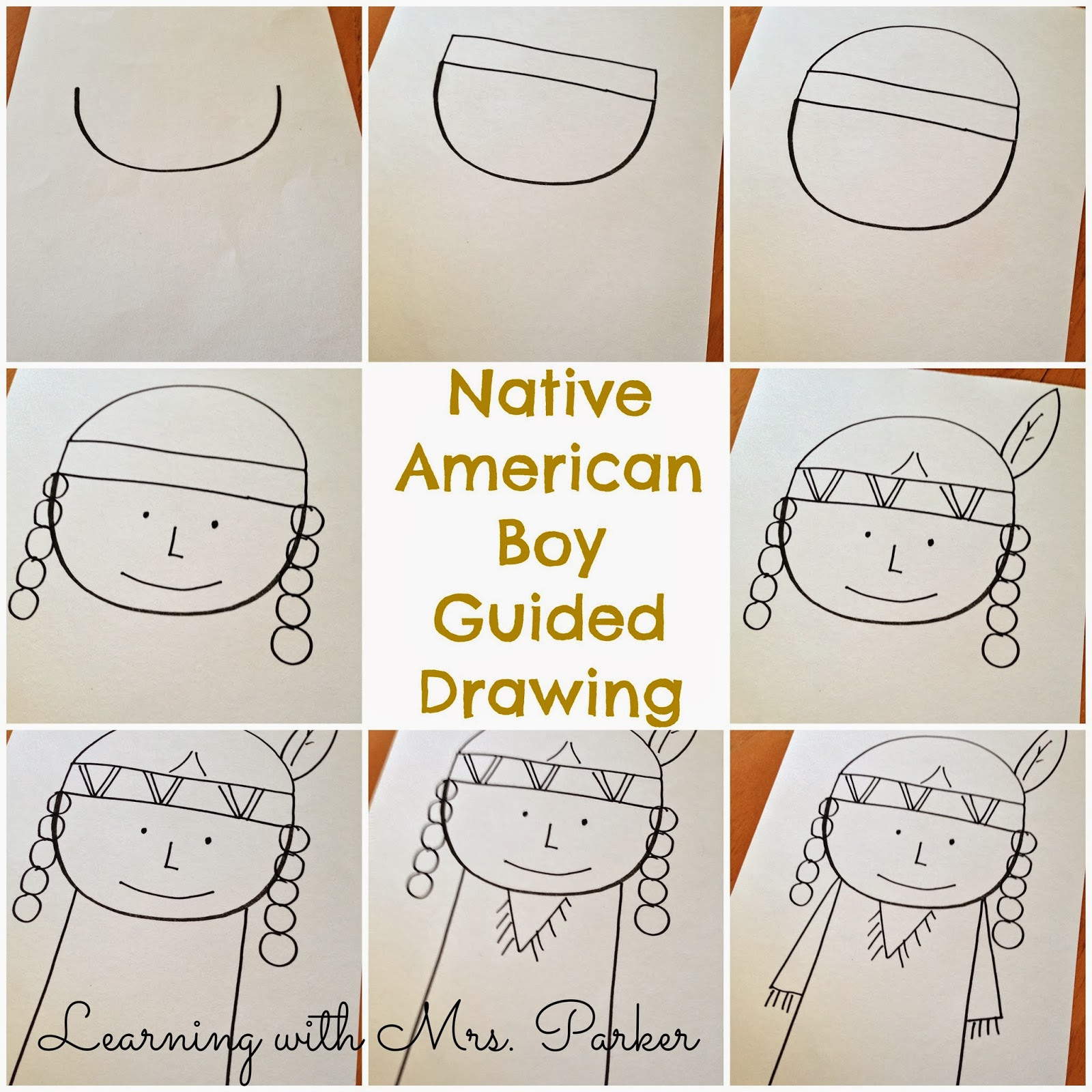 1600x1600 A Step By Step Visual Guide Of How To Draw A Pilgrim Boy And Girl
