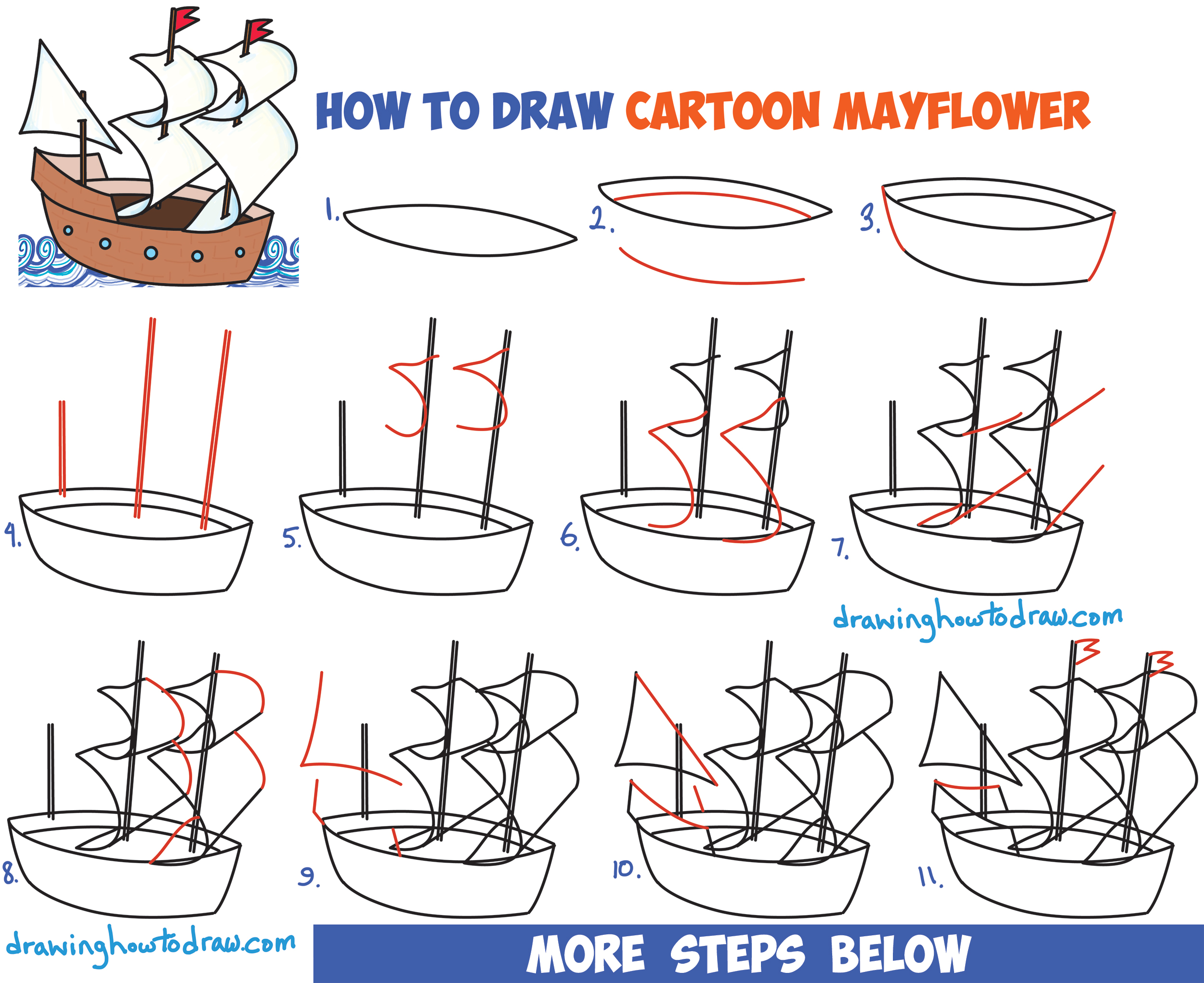 2500x2041 How To Draw Cartoon Mayflower Ship For Thanksgiving Easy Step By