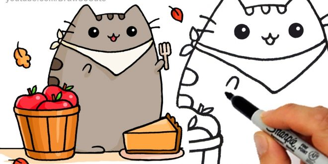 660x330 Thanksgiving Drawing Cat Thanksgiving Blessings
