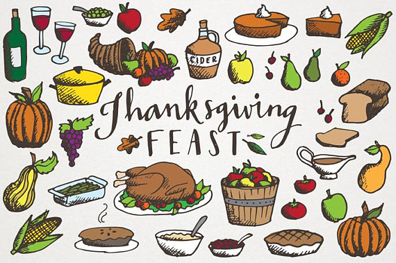 570x379 Thanksgiving Feast Clipart Hand Drawn Illustrations