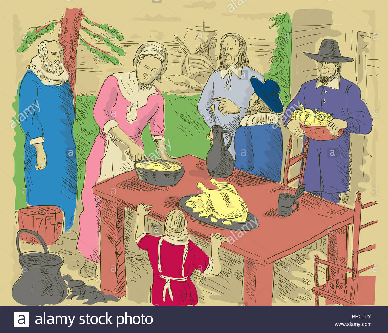 1300x1115 Hand Drawing Illustration Of A Family Of Pilgrims Celebrating