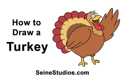 500x315 How To Draw A Cartoon Thanksgiving Turkey