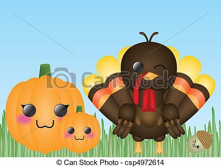 450x341 Turkey, Pumpkins, Amp Acorn. Cute Thanksgiving Card Template