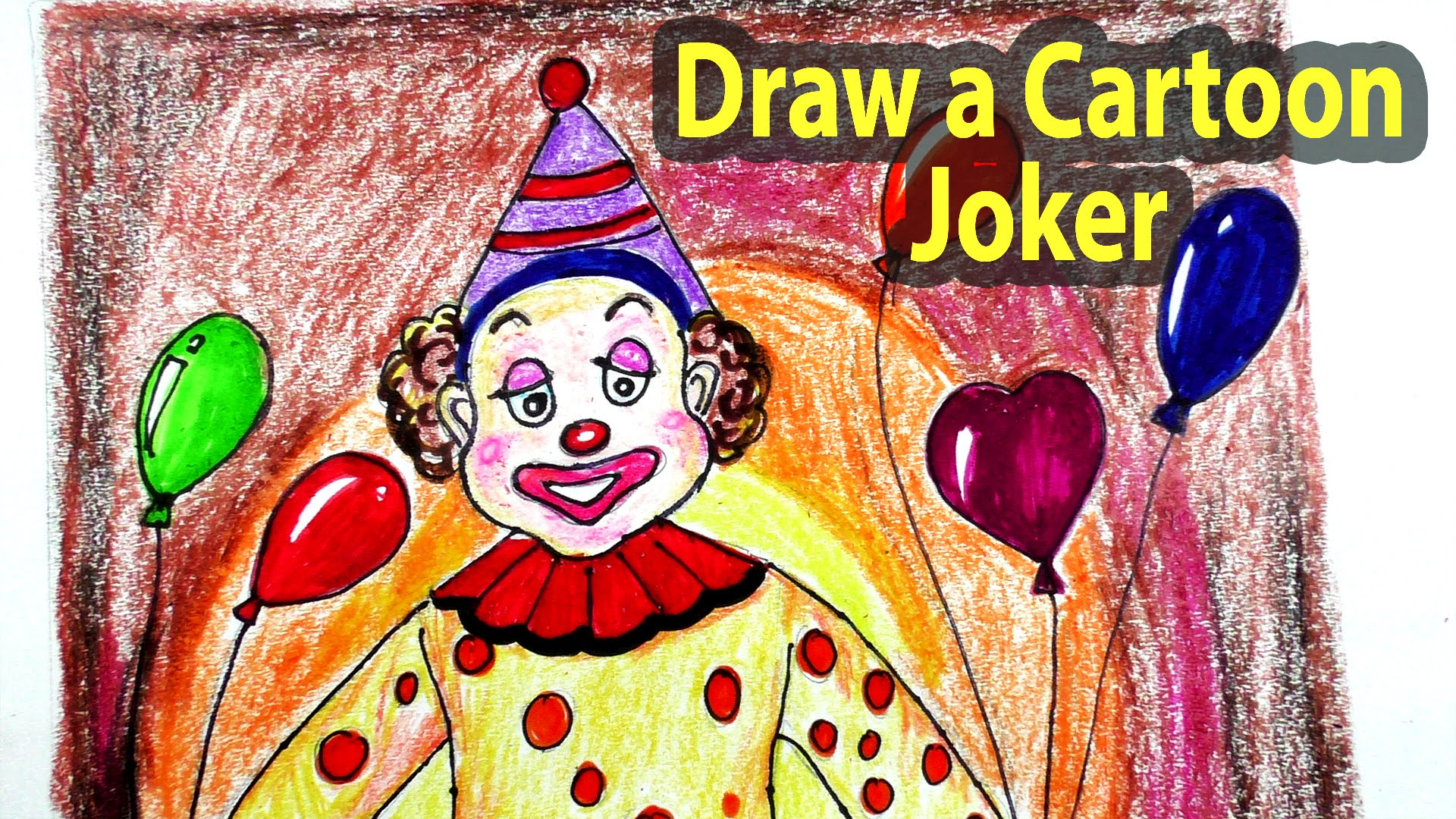 1920x1080 How To Draw A Cartoon Joker Step By Step Joker Character Drawing