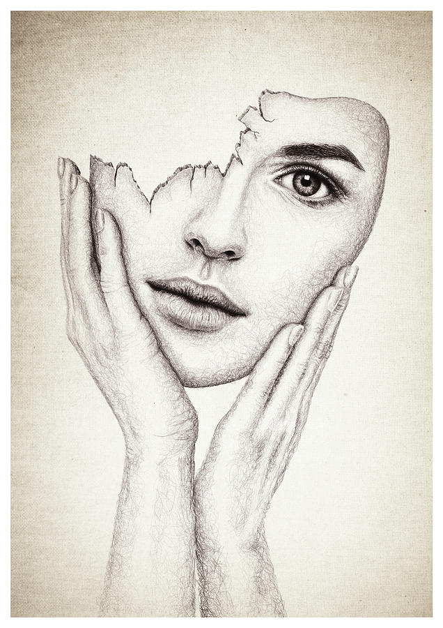 636x900 Broken Mask Drawing By Francesca Sullivan