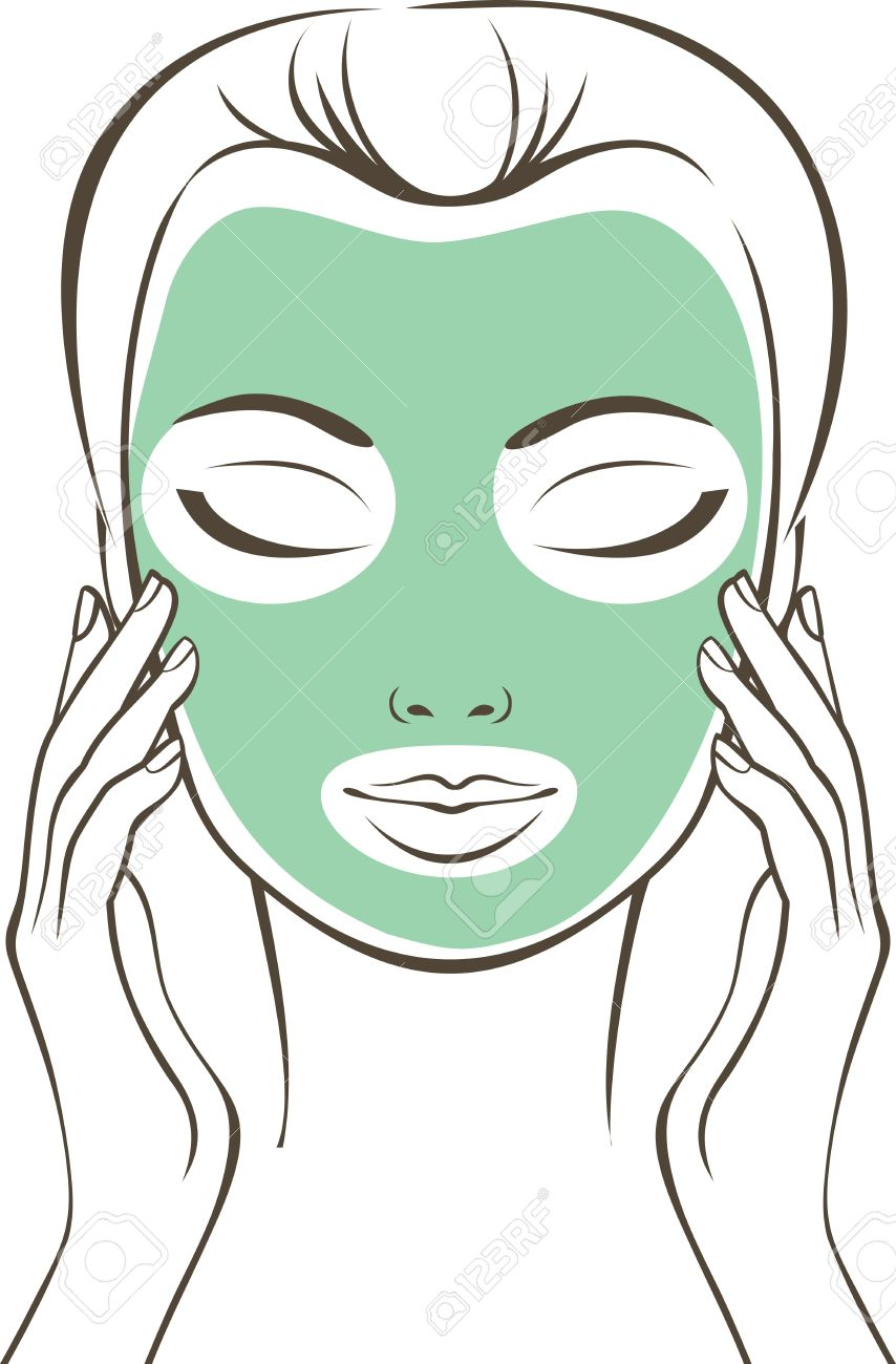 854x1300 Female Face With Beauty Mask Outline Drawing Royalty Free Cliparts