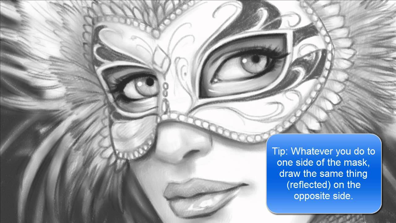 1280x720 How To Draw A Face With A Mardi Gras Mask (Part 2 Of 2)