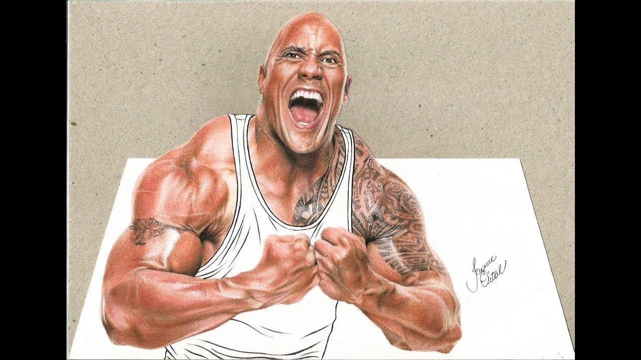 1280x720 Desenhando Dwayne The Rock Johnson 3d