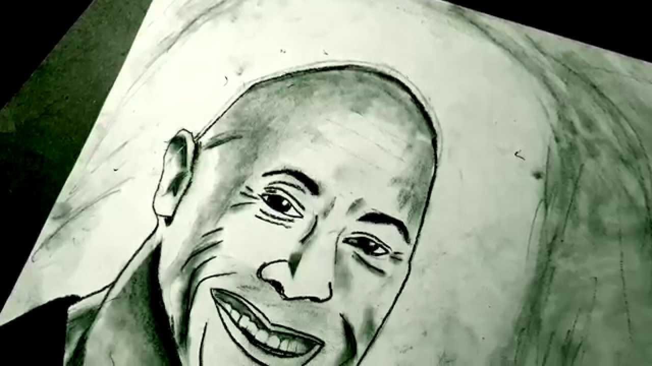 1280x720 Drawing Dwayne The Rock Johnson