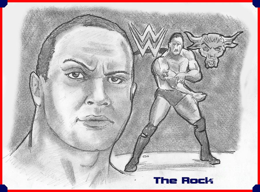 900x664 The Rock Drawing By Chris Delvecchio