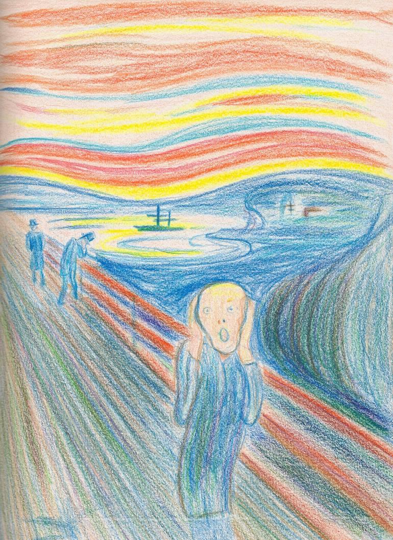 770x1058 Saatchi Art Bloody Clouds (The Scream) Drawing By Giorgi Kereselidze