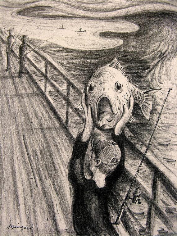 570x760 The Scream Funny Fish Pencil Parody Edvard Munch Drawing Art