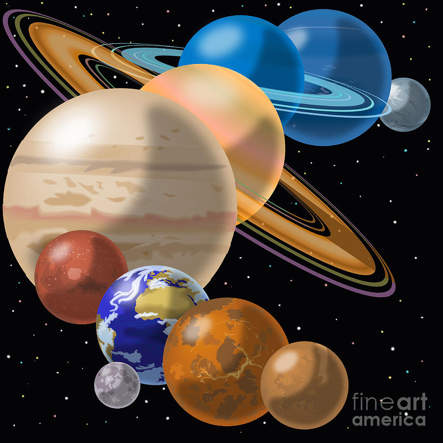 900x900 Solar System Drawing By Mark Giles And Photo Researchers