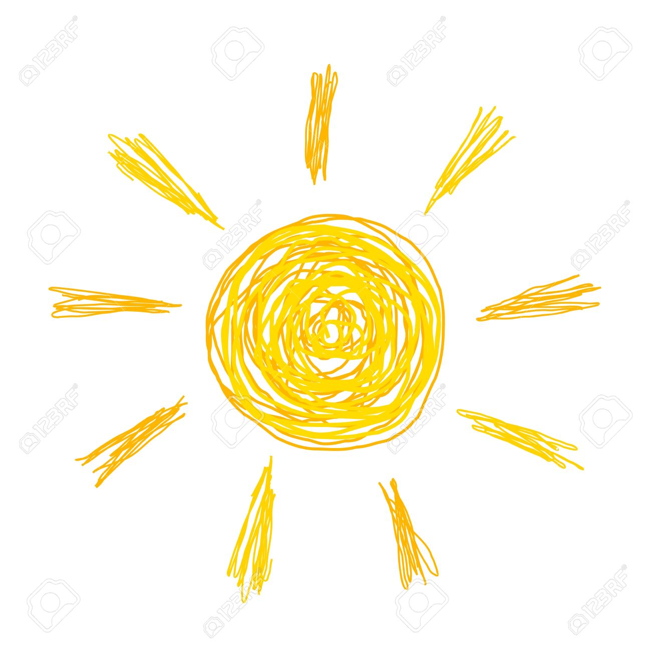 1300x1289 Doodle Sun Drawing. Vector Illustration Royalty Free Cliparts
