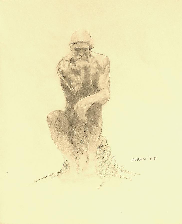 730x900 Rodin's Thinker Drawing By Glenn Daniels