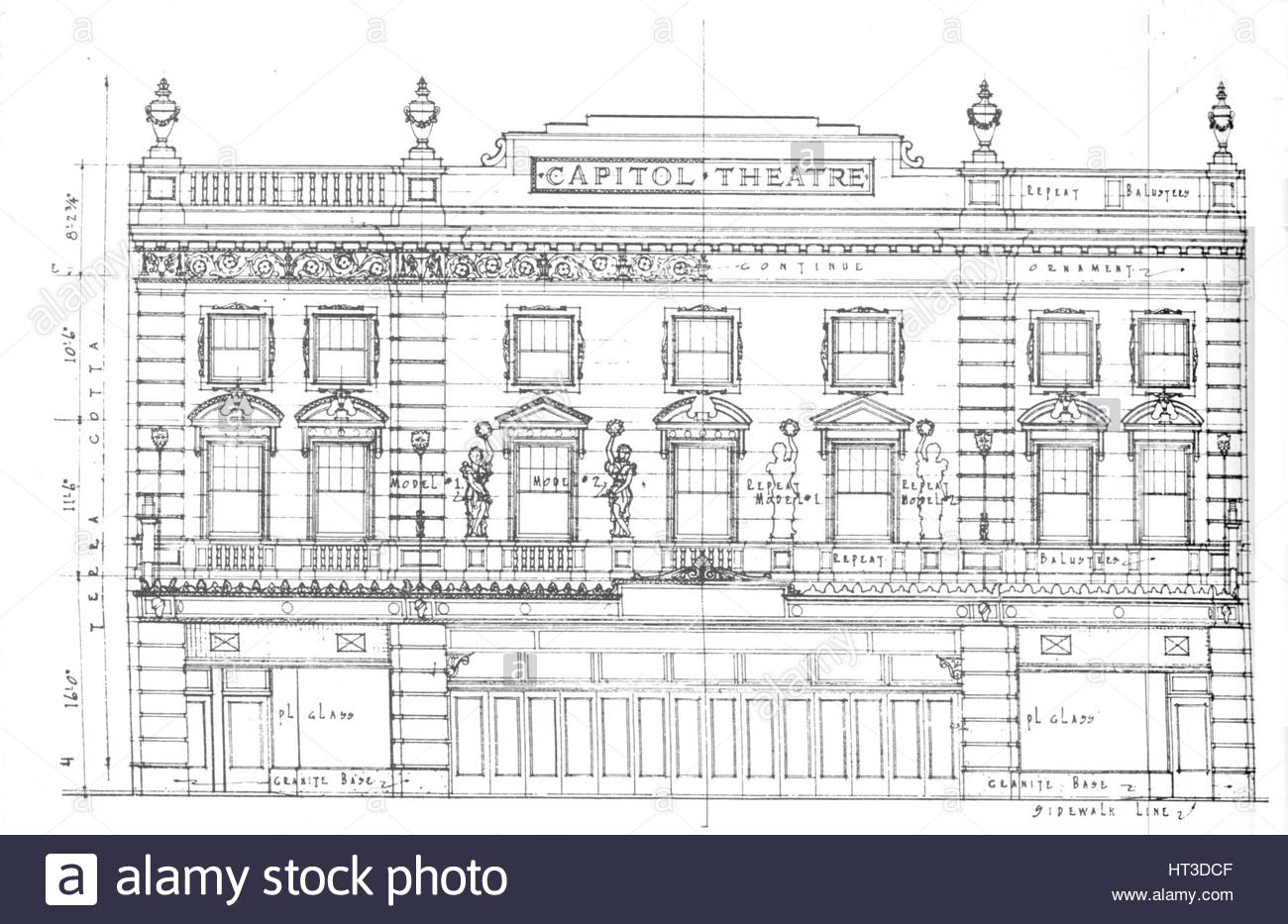 1300x933 Detail Drawing, Front Elevation, Capitol Theatre, Chicago