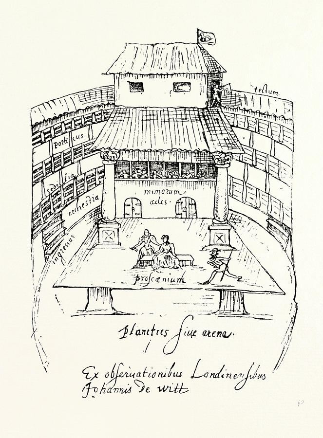 663x900 Interior Of The Swan Theatre About 1596, London Drawing By English